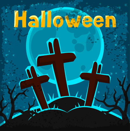 graves: Happy halloween greeting card with cemetery and graves.