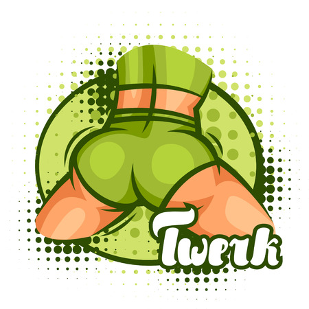 rump: Twerk and booty dance illustration for dancing studio. Illustration