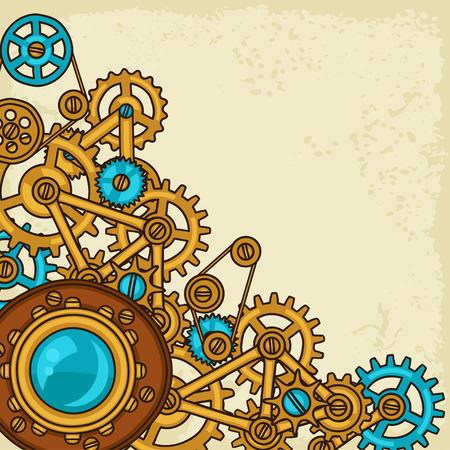 tornillos: Collage de Steampunk de engranajes de metal en el estilo de dibujo.
