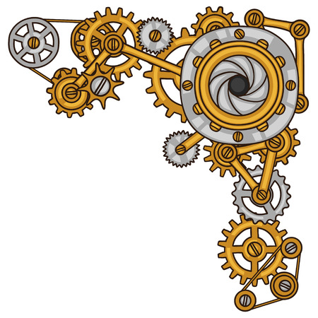 Steampunk collage of metal gears in doodle style. Vector Illustration