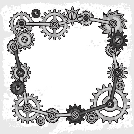 metal gears: Steampunk frame collage of metal gears in doodle style.