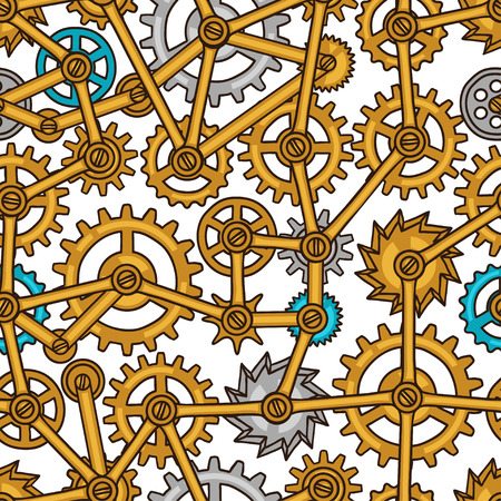 screws: Steampunk seamless pattern of metal gears in doodle style.