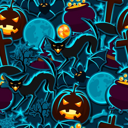 Happy halloween seamless pattern with stickers characters and objects. Stock Illustratie