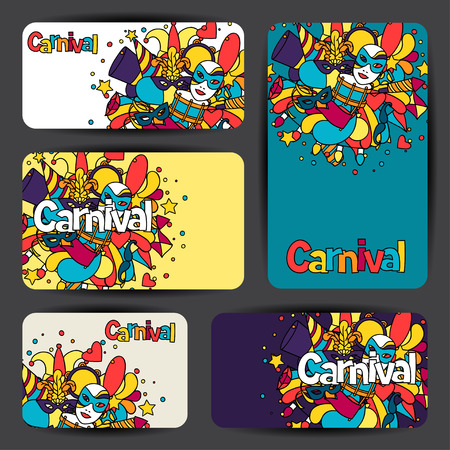 show cards: Carnival show cards with doodle icons and objects.