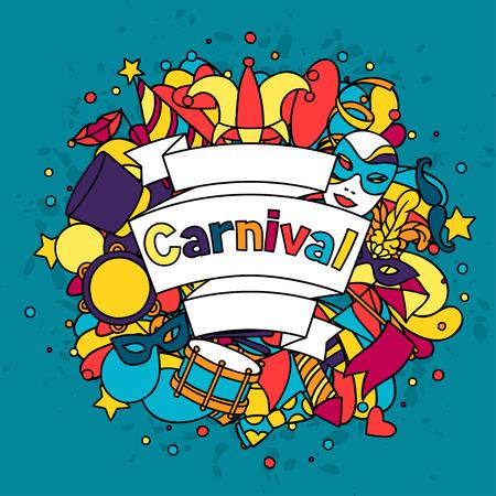 Carnaval tonen achtergrond met doodle pictogrammen en voorwerpen. Stock Illustratie