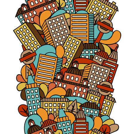 town houses: Town seamless pattern with hand drawn houses.