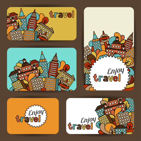 urban: Town business cards with hand drawn houses.