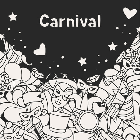 xmas background: Carnival show background with doodle icons and objects.
