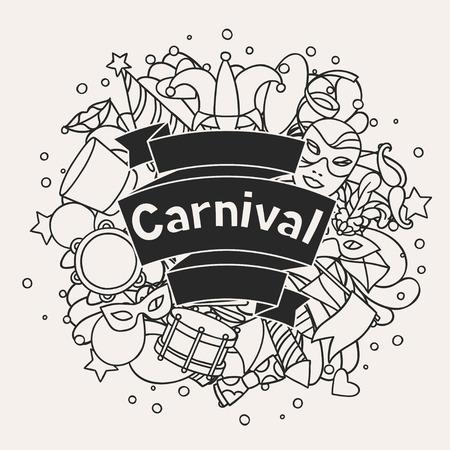 mascaras de carnaval: Carnaval muestran fondo con iconos y objetos del doodle.