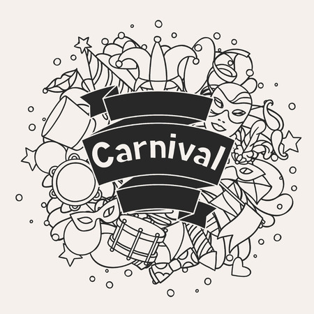 carnival masks: Carnival show background with doodle icons and objects.