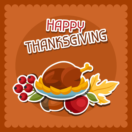 border cartoon: Happy Thanksgiving Day background design with holiday sticker objects. Illustration