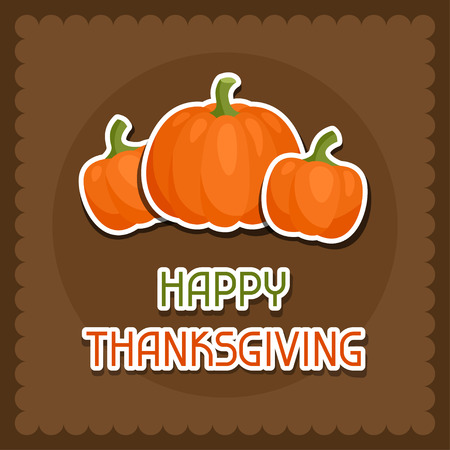 sticker design: Happy Thanksgiving Day background design with holiday sticker objects. Illustration