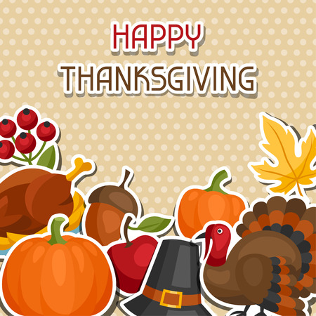 Happy Thanksgiving Day background design with holiday sticker objects. Ilustrace