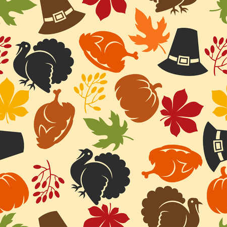 turkey: Happy Thanksgiving Day seamless pattern with holiday objects.