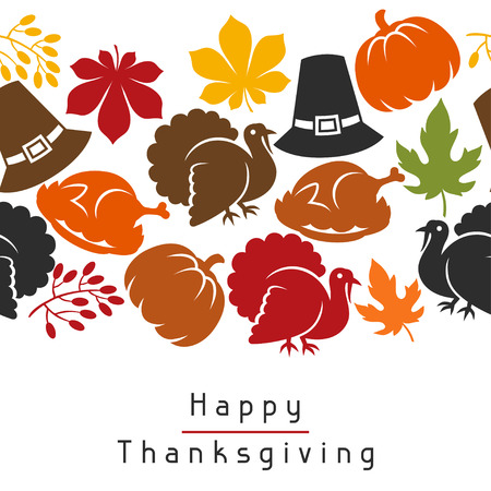 history month: Happy Thanksgiving Day seamless pattern with holiday objects.