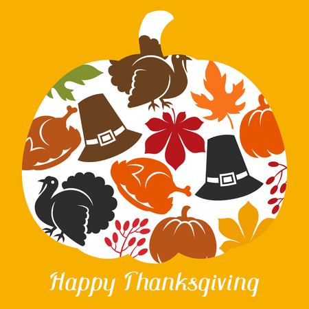 apple border: Happy Thanksgiving Day card design with holiday objects. Illustration