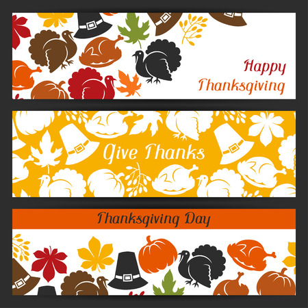 thanksgiving family: Happy Thanksgiving Day banners design with holiday objects.