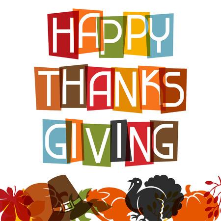 manzana caricatura: Diseño feliz de la tarjeta del día de Acción de Gracias con objetos de vacaciones.