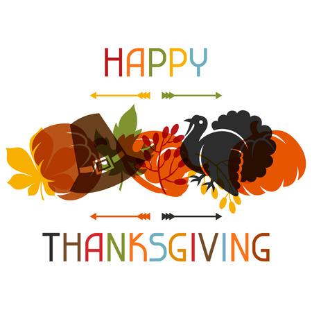 accion de gracias: Diseño feliz de la tarjeta del día de Acción de Gracias con objetos de vacaciones.
