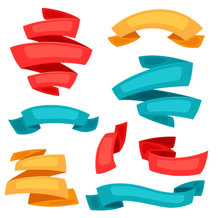 Set of decorative ribbons and banners in cartoon style.