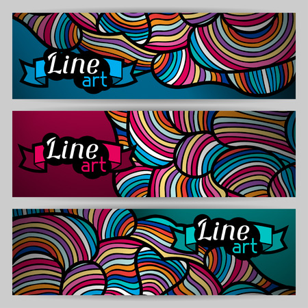 twiddle: Banners with hand drawn waves line art.