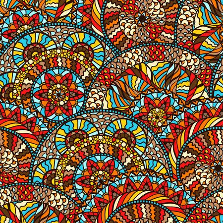手で民族のシームレスなパターンには、飾りが描かれています。