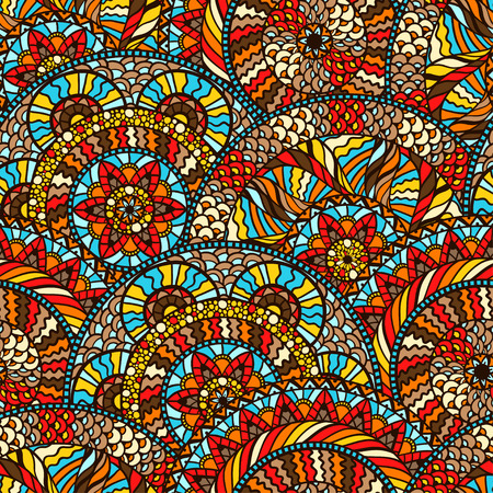 Ethnic seamless pattern with hand drawn ornament. Illustration