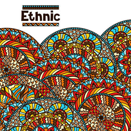 indian culture: Ethnic background design with hand drawn ornament. Illustration