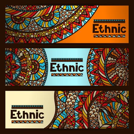 tribu: banderas étnicas diseñan con el ornamento dibujado a mano.