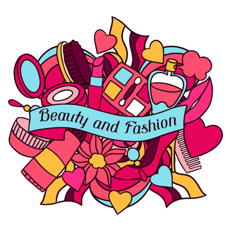 make up products: Beauty and fashion background design with cosmetic accessories. Illustration