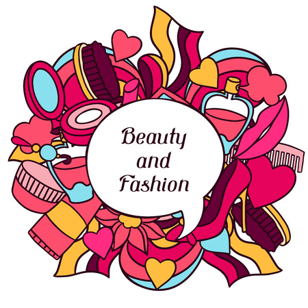 beauty make up: Beauty and fashion background design with cosmetic accessories. Illustration