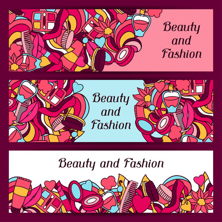 fashion shoes: Beauty and fashion banners design with cosmetic accessories.