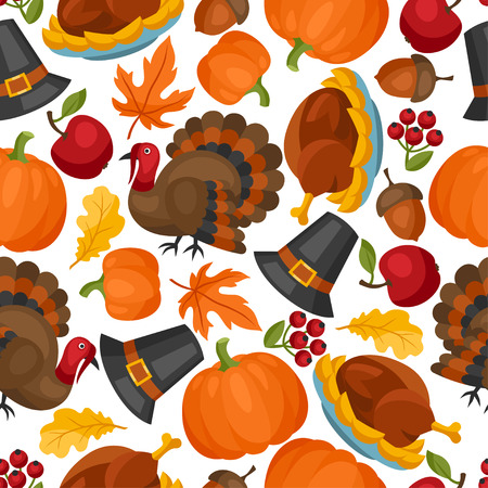 happy family nature: Happy Thanksgiving Day seamless pattern with holiday objects.