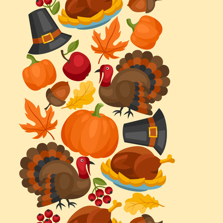 american falls: Happy Thanksgiving Day seamless pattern with holiday objects.