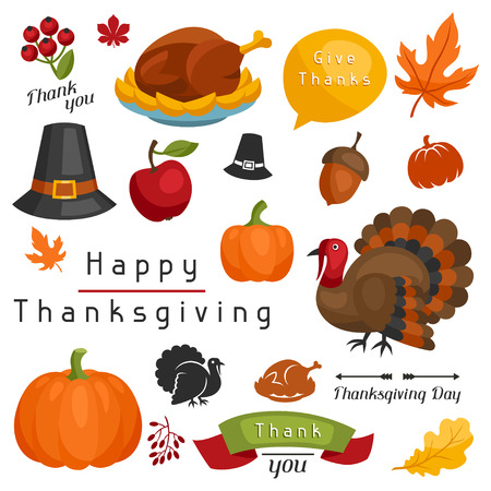 Set of Happy Thanksgiving Day holiday objects and icons. Illustration