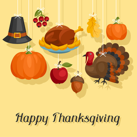 Happy Thanksgiving Day card design with holiday objects. Vettoriali