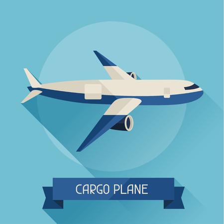 航空機: フラットなデザイン スタイルで背景の貨物飛行機アイコン。