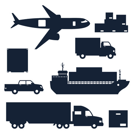 cargo transport: Freight cargo transport icons set in flat design style.