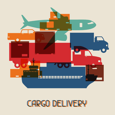 cargo transport: Freight cargo transport icons background in flat design style. Illustration