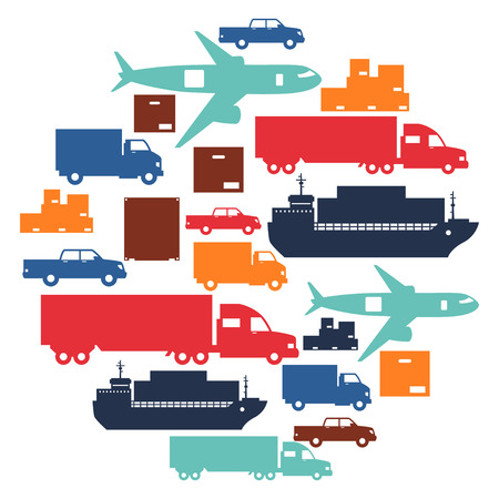corporate airplane: Freight cargo transport icons background in flat design style. Illustration