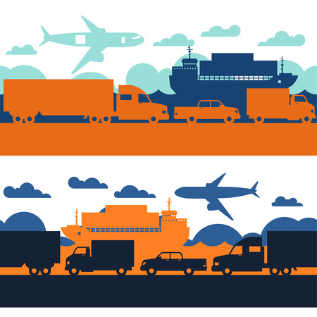 freight transportation: Freight cargo transport icons seamless patterns in flat design style. Illustration