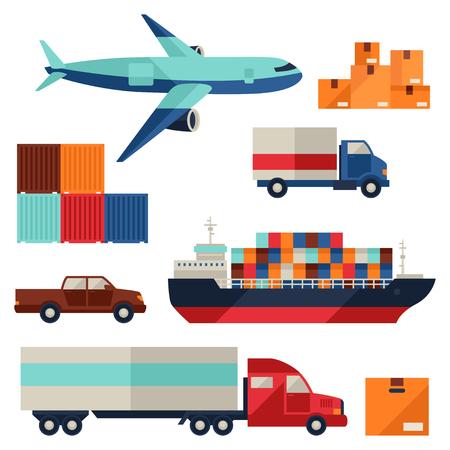 貨運貨物運輸圖標扁平的設計風格設置。 向量圖像