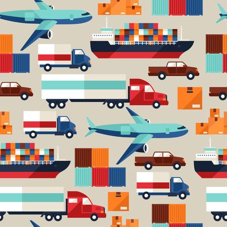 cargo transport: Freight cargo transport seamless pattern in flat design style. Illustration