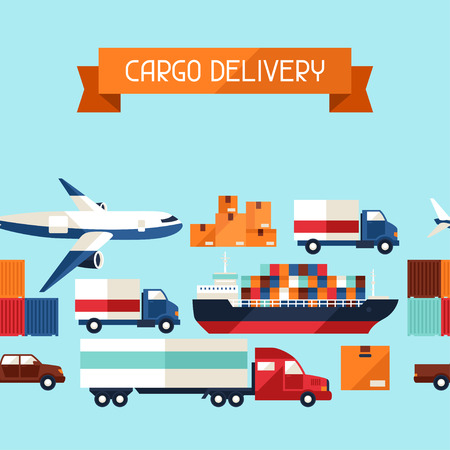cargo transport: Freight cargo transport icons seamless pattern in flat design style.