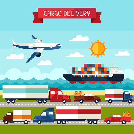 Freight cargo transport background in flat design style. Stock Photo
