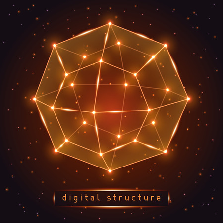 glowing: Abstract glowing geometric figure on starry background.