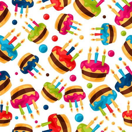 birthday cakes: Celebration festive seamless pattern with birthday cakes.