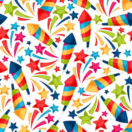 fireworks: Celebration festive seamless pattern with colorful fireworks. Illustration