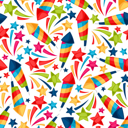 Celebration festive seamless pattern with colorful fireworks. Illustration