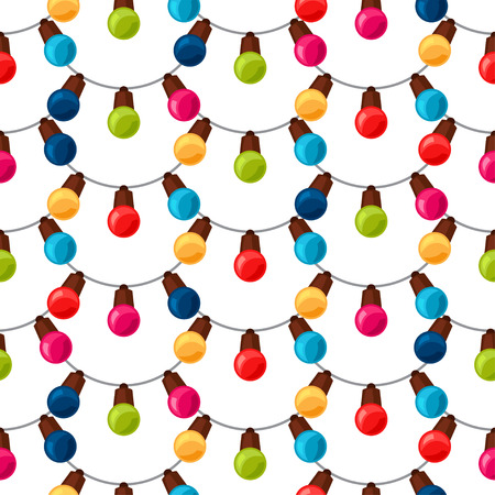 texture backgrounds: Celebration festive seamless pattern with garland bulbs. Illustration